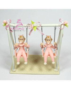 Twins on swing
