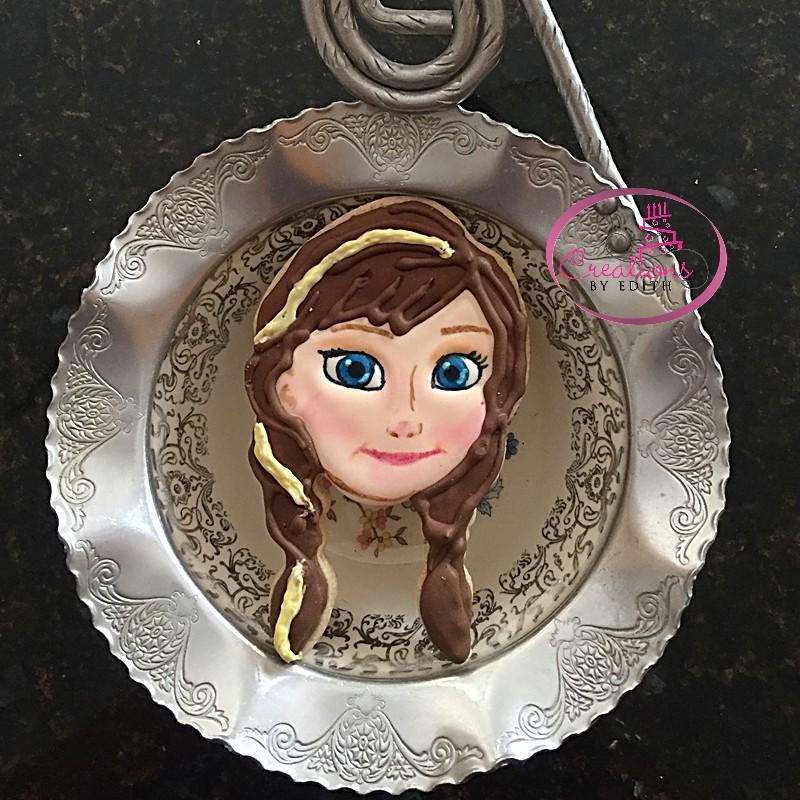 Anna Frozen inspired cookie